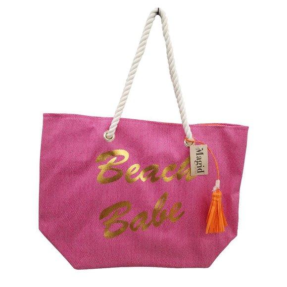 Magid Handbags - 🆕Magid Beach Babe Pink Straw Tote Bag